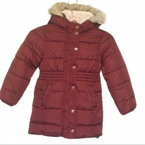 Old Navy Girls Puffer Fleece Hooded Coat